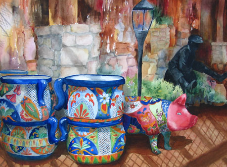 Pink pig pots painting
